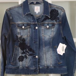 "LuLaRoe ""Harvey""  Denim Jacket Embroidered  XL NWT"